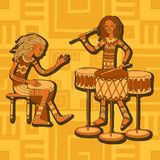 African drummers. Percussion players. Tribal music. Colorful cartoon characters of musicians. Stylized percussionists on patterned background. Isolated vector Royalty Free Stock Image