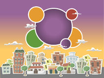 Colorful cartoon city Stock Images