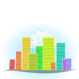 Colorful Cartoon city Stock Photos