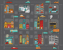Colorful cartoon city map Royalty Free Stock Images