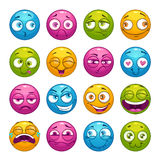 Colorful cartoon comic faces with different emotions. Stock Illustration