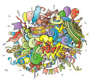 Colorful cartoon composition of party objects hand drawn on white Stock Images