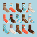 Colorful cartoon cute kids socks set. Colorful cartoon cute stylized socks. Kids wear, socks set vector illustration vector illustration