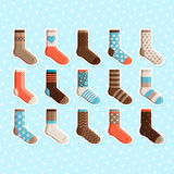 Colorful cartoon cute kids socks stickers Stock Photography