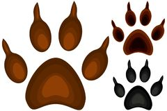 Colorful cartoon dog paw footprint icon set poster. Pet themed  illustration for gift card, flyer, certificate or banner, icon, logo, patch, sticker Royalty Free Stock Photo