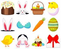 Colorful cartoon easter icon set 12 elements. Coloring book page for adults and kids. Vector illustration for gift card, flayer, certificate or banner, icon Stock Photography