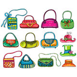 Colorful Cartoon Fashion Woman Bags. Royalty Free Stock Image