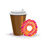 Colorful cartoon fast food icon on white background. coffee and donut Royalty Free Stock Photography