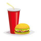Colorful cartoon fast food icon on white background. Drink with a hamburger. Royalty Free Stock Photo