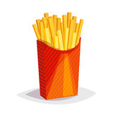 Colorful cartoon fast food icon on white background. French fries Royalty Free Stock Photo