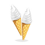 Colorful cartoon fast food icon on white background. Ice-cream cone Royalty Free Stock Images