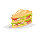 Colorful cartoon fast food icon on white background. Sandwich with salami and cheese. Stock Photo