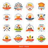 Colorful cartoon fast food label logo isolated restaurant tasty american cheeseburger badge mea meal vector illustration. Colorful cartoon fast food logo Stock Photography