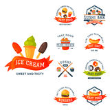 Colorful cartoon fast food label logo isolated restaurant tasty american cheeseburger badge mea meal vector illustration Stock Photos