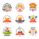 Colorful cartoon fast food label logo isolated restaurant tasty american cheeseburger badge mea meal vector illustration. Colorful cartoon fast food logo Stock Image