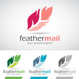Colorful Cartoon Feather Logo Icon Stock Photography