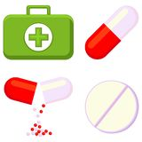 Colorful cartoon first aid kit content set. Isolated on white background. Healthcare themed  illustration for icon, sticker, sign, patch, certificate badge Royalty Free Stock Photo