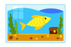 Colorful cartoon fish aquarium. Decorative element for home office. Pet themed vector illustration for icon, sticker, label, badge, poster, certificate or gift Royalty Free Stock Images