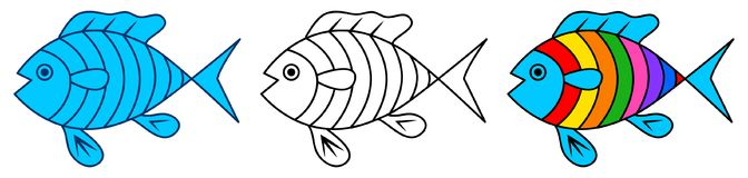 Colorful cartoon fish clip art and line art. Illustration colorful cartoon fish clip art and line art on white background Royalty Free Stock Photography