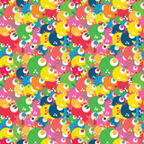 Colorful cartoon fish seamless pattern design for kids. Vector b. Right sea life children print. Trendy joyful repeating background for wrapping paper, textile Royalty Free Stock Photo