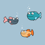 Colorful cartoon fishes. Funny set of 3 Vector Illustration