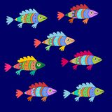 Colorful cartoon fishes pattern in vector. Funny underwater animals. N royalty free illustration