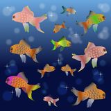 Colorful cartoon fishes. In the water space for your business Stock Photography