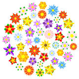 Colorful cartoon flowers Stock Images