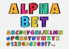 Cartoon font, alphabet and numbers. Vector illustration stock illustration