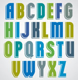 Colorful cartoon font, comic upper case letters with outline Royalty Free Stock Photos