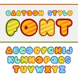Colorful cartoon font. Cute vector alphabet. Baby. Font Stock Illustration