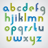 Colorful cartoon font, rounded lower case letters with white out Royalty Free Stock Photo
