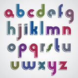Colorful cartoon font, rounded lower case letters with white out Royalty Free Stock Images