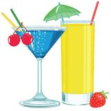 Colorful Fruity Cocktails. Colorful Cartoon Fresh Fruity Cocktails Smoothie with some berries flyer royalty free illustration