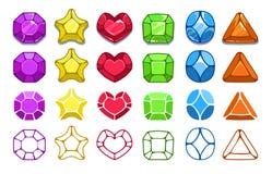 Colorful cartoon gem icons set Stock Photo