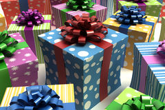 Colorful cartoon gift boxes Stock Photos