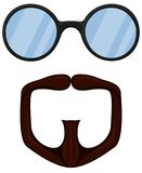 Colorful cartoon goatee glasses set. Fashion vector illustration for gift card certificate sticker, badge, sign, stamp, logo, label, icon, poster, patch Royalty Free Stock Photo