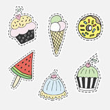 Colorful cartoon hand drawn cupcake, donat, watermelon and ice cream. Isolated  illustration in patch style. Collection of colorful cartoon hand drawn cupcake Stock Photography