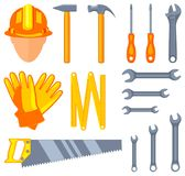 Colorful cartoon 15 handyman tools set. Simple toolkit for home repair. Construction themed vector illustration for icon, sticker, patch, label, sign, badge royalty free illustration