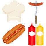 Colorful cartoon hot dog cooking set. Food themed vector illustration for gift card certificate sticker, badge, sign, stamp, logo, label, icon, poster, patch Royalty Free Stock Photography