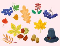 Colorful cartoon icons for thanksgiving day holiday vector turkey design leaf season celebration Stock Photo