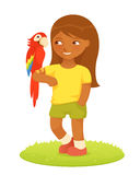 Illustration of a cute small girl with macaw parro Stock Image