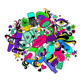 Colorful Cartoon Illustration With Decorative Cosmetics. Stock Photos