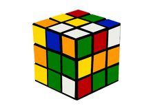 Rubiks cube colorful cartoon illustration. A colorful, cartoon illustration of a Rubiks cube. Can be used in area of education and science royalty free illustration