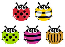Colorful cartoon insects set isolated on white Royalty Free Stock Photos