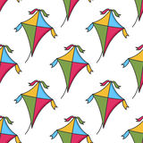 Colorful Cartoon Kite Seamless Pattern Royalty Free Stock Photos