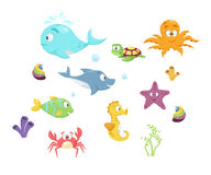 Colorful cartoon marine life Stock Photography