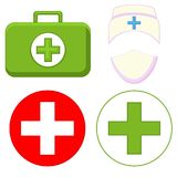 Colorful cartoon medical first aid set. Isolated in white background. Healthcare themed  illustration for icon, sticker, sign, certificate badge, gift card Stock Image