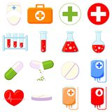 Colorful cartoon 16 medical icon set. Colorful cartoon 16 medical icon set isolated on white background. Healthcare themed vector illustration for sticker, sign royalty free illustration