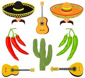 Colorful cartoon 8 mexican elements royalty free illustration